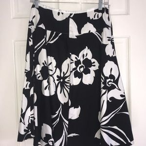 Black and White Flowered Skirt by Design Elements